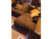 cheap corner suite, brown leather frame