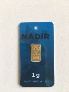 NADIR 1 gram 24K 995 GOLD BULLION BAR LMBA CERTIFIED