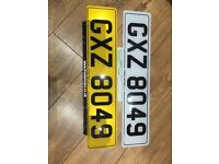 GXZ 8049 private cherished personal personalised registration plate number