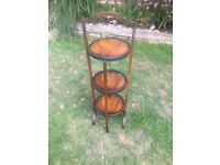 Hardwood antique 3 tier cake stand - 35 in high