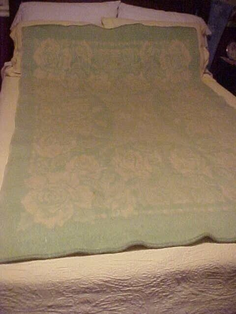 WOOL BLANKET, GREEN with ROSES DESIGN, REVERSES to CREAM GOLDEN DAWN