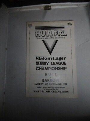 Hull v Barrow 7th September 1980 League Match @ The Boulevard, Hull