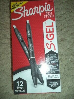 Sharpie 12 S-gel Gel Pens Medium Point 0.7mm Black Ink 2096159