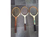 Vintage Tennis Rackets * Sondico - Dunlop Maxply * & Vintage Crown Suitcase