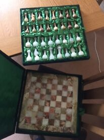 Beautiful solid Marble Chess Board with felt hard case