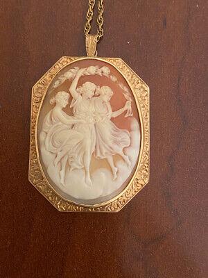 14k Gold Large Antique Cameo Three Graces Pendant Necklace