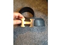 HERMES BELTS MENS BLACK / TAN SILVER BUCKLE