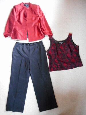 Womens 3 Pc Pant Suit-KASPER-red/black lined w/floral top-16P