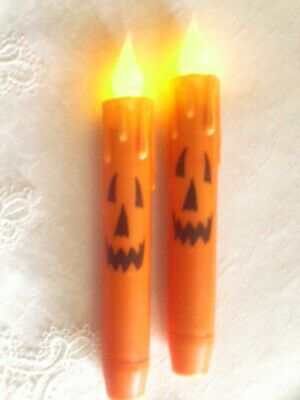 2 Faces Halloween (2 HALLOWEEN TIMER TAPER CANDLES  6.75