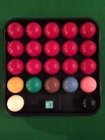 Complete Set *FULL SIZE SNOOKER BALLS* Chalk & Carry Tray Used VGC
