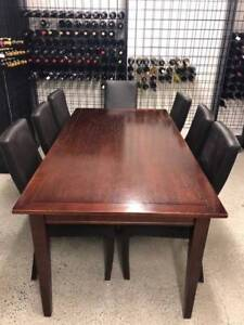 Dining table, 7 chairs and side board