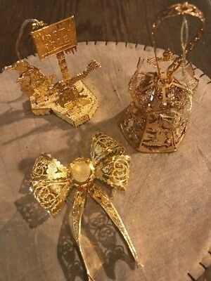 Danbury Mint Christmas Ornaments Gold Bell with Ringer Bow North Pole Penguins