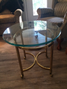 2 Brass and Glass End Tables