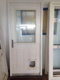 White Composite Door with Cat Flap