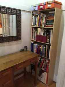 Bookcase, glass coffee table top, cutting table, artwork, frames