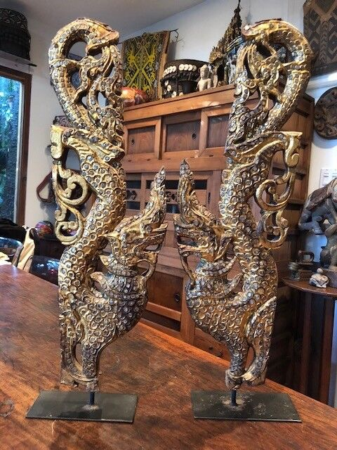 Antique pair of Burmese mythological Pyinsa Rupa gilded wood temple carvings