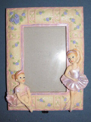 BALLERINA PICTURE FRAME YELLOW PURPLE PINK GLITTER 8 3/4