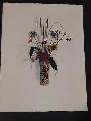 Hand Colored Floral Art - Floral-Still Life-Oriental-Loudermilk-Hand Colored Etching-Signed-LE-Art Print
