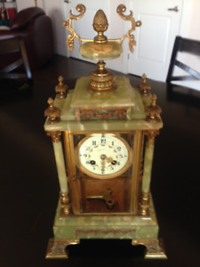 Antique clock - solid green marble with ornate details