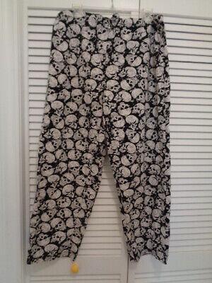 Mens Sleepwear Sleep Pants Cotton drawstring black white SKULLS Adult S 28-30 Black White Mens Sleepwear