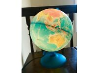 GLOBE WORLD LIGHT LAMP, DESK PLAYROOM, CHILDS EDUCATIONAL TOY, AMBIENT RETRO