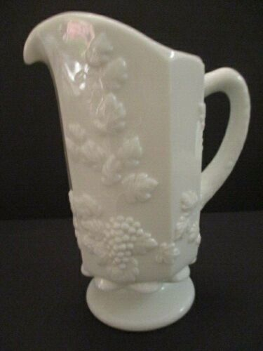 Westmoreland White Milk Glass Water Pitcher, Footed Paneled Grape Pattern