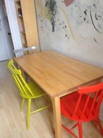 Solid Pine Table from Ikea and Habitat Chairs (sold separately)