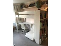 Child's Aspace cabin bed with pull out futon, desk and chair.