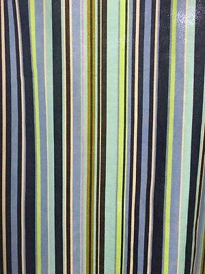 (Garnet Hill Cotton Shower Curtain Blue Green Stripes Grommets 71 x 70)