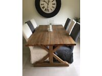 6-10 place extendable country-style dining table & chairs