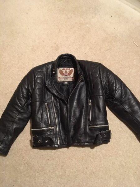 Vintage child's black leather biker jacket, Akashi, size 28 for sale  Winchester, Hampshire