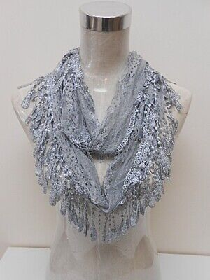 Grey Lace Infinity Scarf Circle Eternity Light Weight Fringe Spring Summer NEW