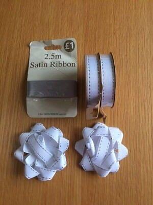 white & silver ribbon, gift bows bundle