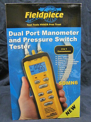 Fieldpiece Dual Port Manometer Gas Pressure Switch Tester Sdmn6