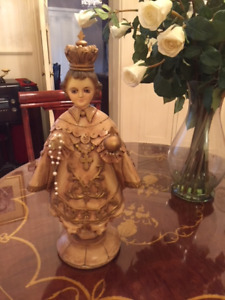 Vintage Wood Carved Infant Of Prague 21 Inches Tall