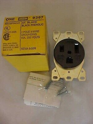 Hubbell Black Flushmount Receptacle Outlet 2 Pole 3 Wire 9367
