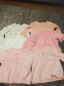 6 baby girls cardigans 0-3 months worn once