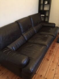 Sofa: Dk Brown Leather, Used, 3 seater - now FREE for speedy collection