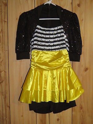 BUMBLE BEE JAZZ DANCE HALLOWEEN COSTUME LARGE CHILD TO ADULT SMALL 3 PC - Halloween Jazz Dance