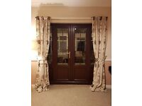 Fully lined flower/leaf brown/beige curtains with tie backs
