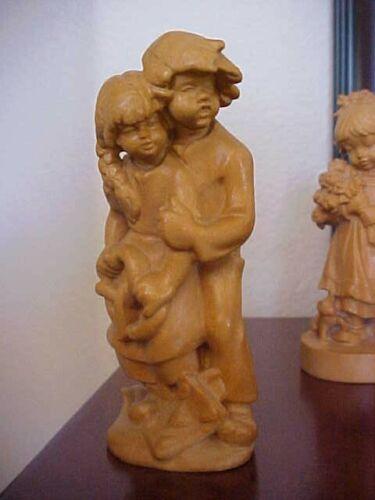 "DOLFI Anri  Italy Carved Wood Girl & Boy Hansel & Gretel 4 1/2"" PRISTINE"
