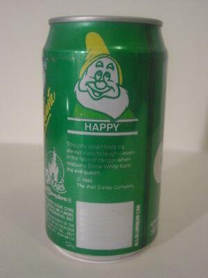 1986 12 oz. SPRITE CAN 15 YEARS DISNEY WORLD ( HAPPY ) BOTTOM OPENED