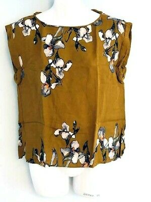 ZARA Basic Made in SPAIN Woman Mustard Color Floral Top T-Shirt Sleeveless Siz M