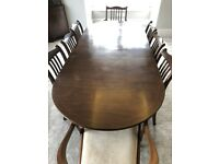 Antique mahogany dining room furniture (table, chairs, sideboard, display cabinet)