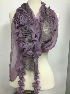 SILK SCARF BY JAYLEY PURPLE SILK AND LACE H160