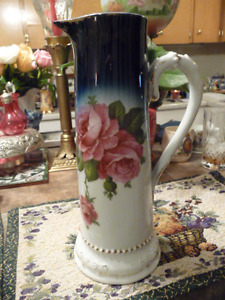 Beautiful Tall Painted Antique German Porcelain Pitcher/Vase