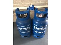 Two full Calor Gas, 7kg Butane cylinders
