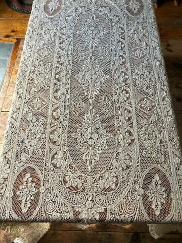 "Antique Handmade Cantu Lace Tablecloth 128""x 63"" Warm Ivory Excellent Condition"