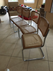 Breuer Chrome metal Cane Wicker Dining Chairs