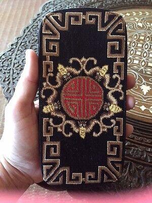 Fab Petite Point Eyeglasses Case Black w Red Asian Symbol Bees Geometric Gold